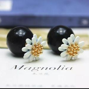 Black Ball Double Sided Stud Earrings